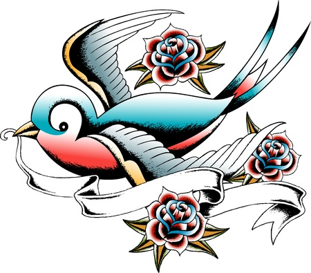 tragos: Golondrina y emblema Rosa