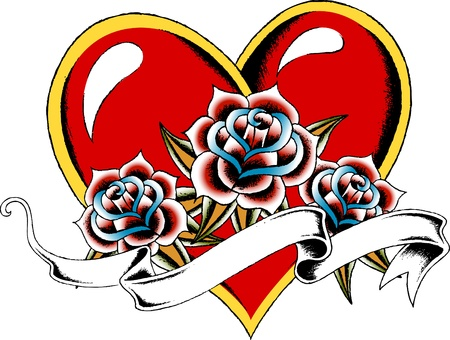 heart and rose ribbon banner Vector