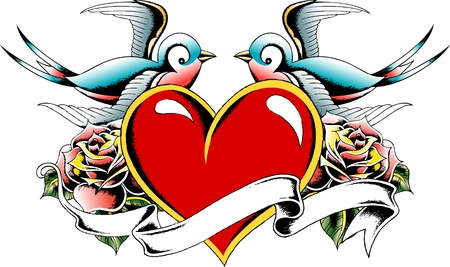 heart with bird and rose tattoo Vector