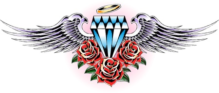 flying diamond with rose tattoo Stock Vector - 9920772