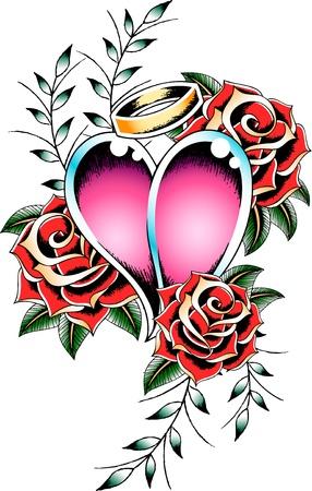romantic love tattoo flash Stock Vector - 9920774