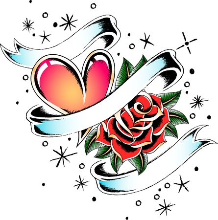 heart and rose tattoo banner Vector