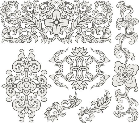 scroll floral adornment Vector