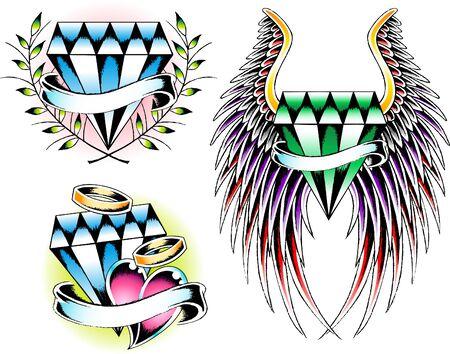 diamond set emblem Vector