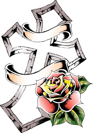 cross and rose ribbon banner Vector
