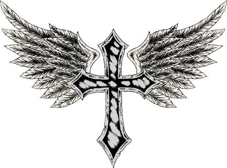 cruz religiosa: Cruz y ala heráldico Vectores