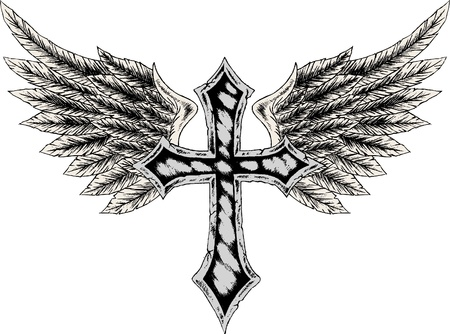 j�sus croix: la Croix et aile h�raldique Illustration