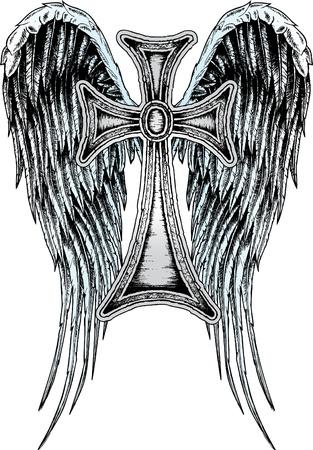 cross and wings: Cruz y ala her�ldico Vectores