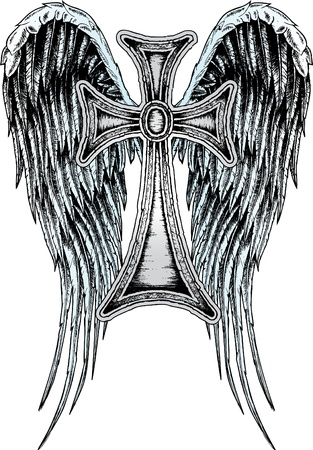 christian cross and wings: heraldic wing and cross