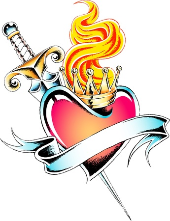 heart with crown: royal crown heart tattoo Illustration