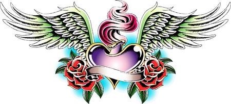 angel heart tattoo emblem Vector