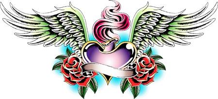 engel tattoo: Engel Herz Tätowierung emblem