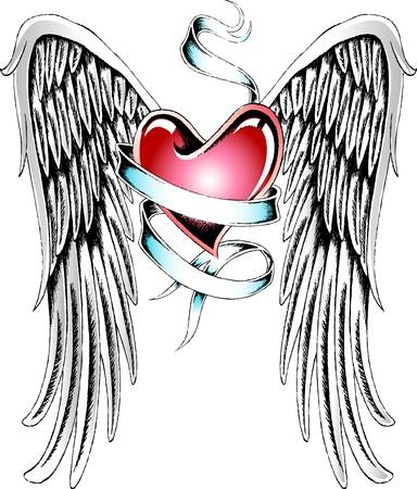 engel tattoo: Engel Herz T�towierung Illustration