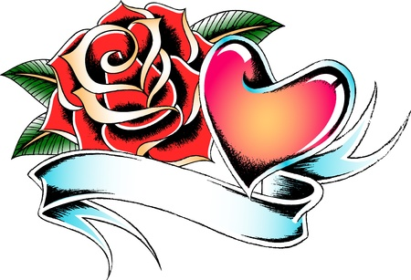 seasonal rose and heart banner Vector