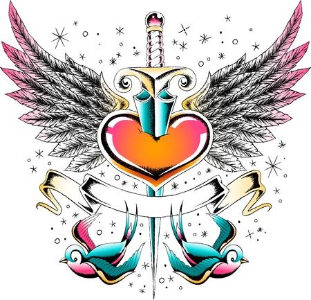 swallow: Vintage hart en swallow vaandel