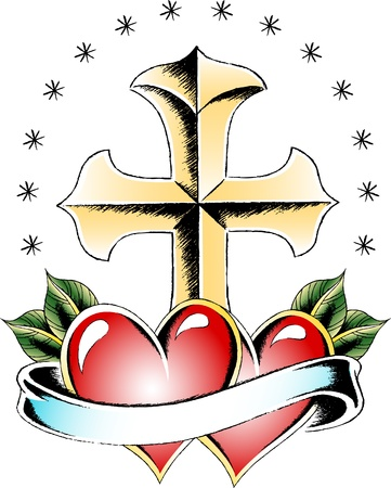 miracle leaf: cross and heart tattoo