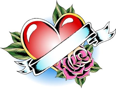heart flower tattoo Stock Vector - 10055301