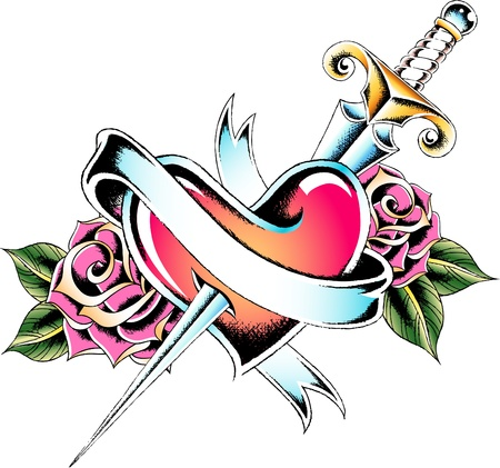 heart emblem with rose and sword Vector