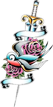 tattoo: swallow and rose tattoo Illustration