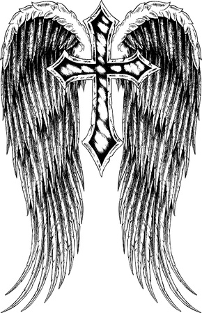 cross tattoo: cross with wing design Illustration