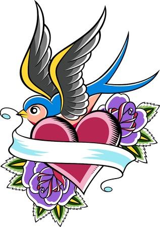 golondrinas: diseño del emblema de tragar