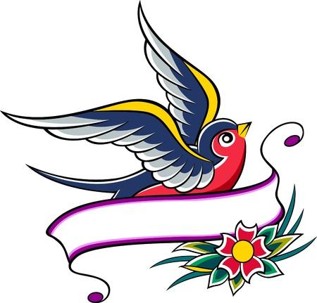 flower clip art: swallow emblem design Illustration