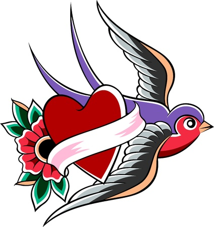 tattoo arm: swallow emblem design Illustration