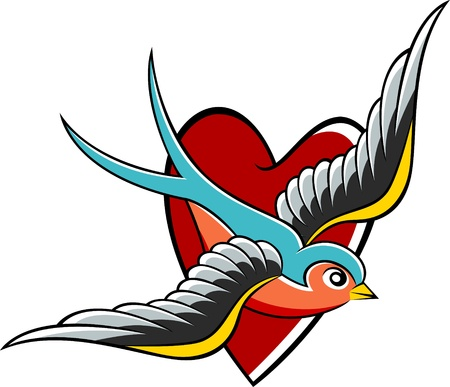 swallow emblem design Vector