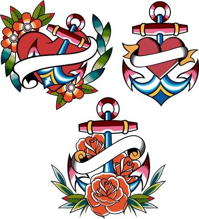 tatouage fleur: ensemble de tatouage ancre