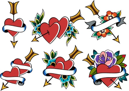 heart and flower tattoo set Vector