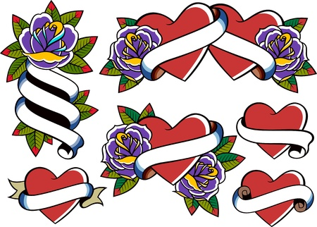 rose and heart tattoo set Vector