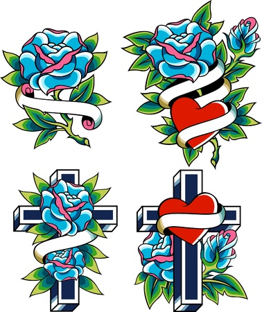 rose tattoo: religion cross and rose design