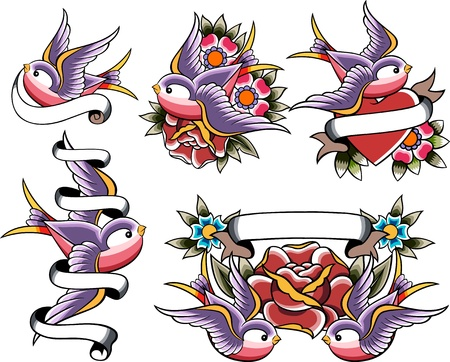 swallow tattoo set Stock Vector - 10308167