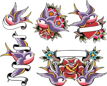 tatuaje de aves: tragar tatuaje conjunto