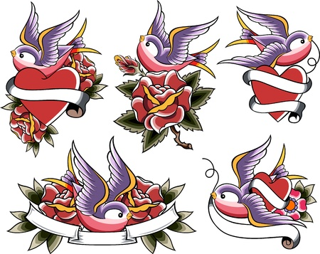 rose tattoo: swallow tattoo set