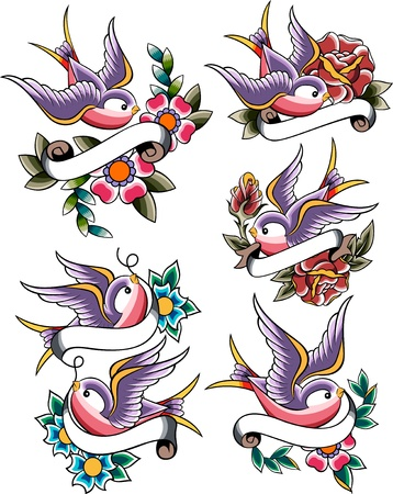 swallow tattoo set Stock Vector - 10308168