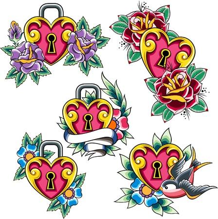 swallow: hart tatoeage set Stock Illustratie