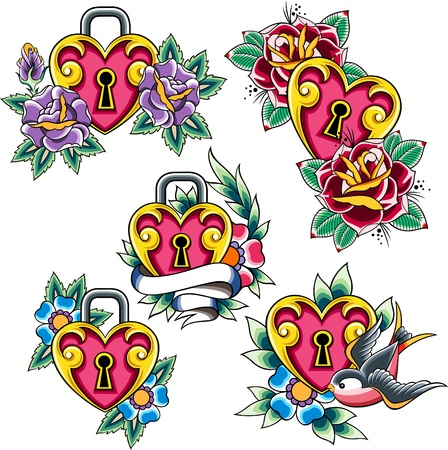 classic tattoo: heart tattoo set