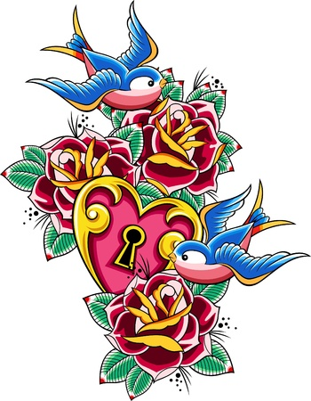 rose tattoo: swallow tattoo