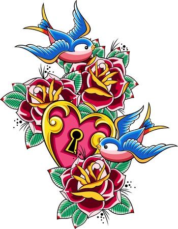 golondrinas: tatuaje Golondrina Vectores