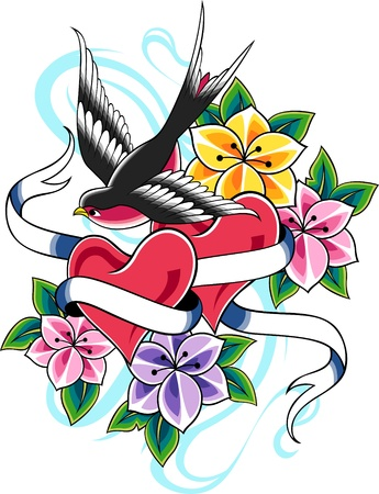 classic tattoo: bird and heart ribbon banner