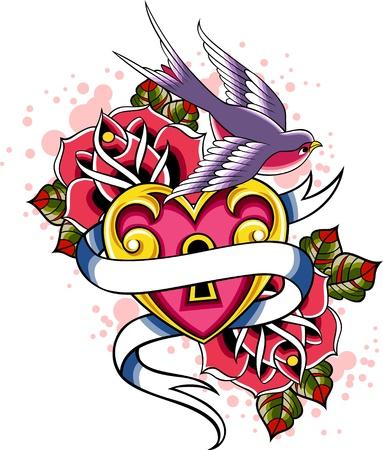golondrina: aves y coraz�n de cinta Vectores