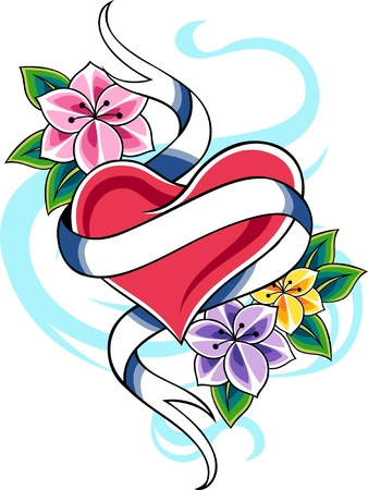 tattooing: heart ribbon banner