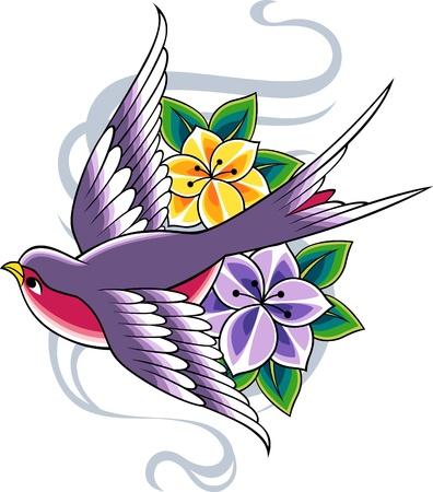 tattooing: bird flower banner Illustration
