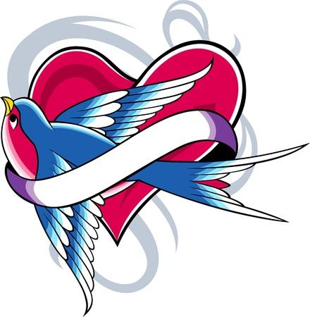 golondrinas: aves y corazón de cinta Vectores