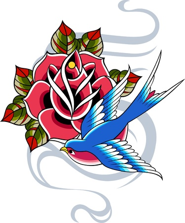 swallow: bird and rose banner