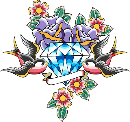 flower tattoo: bird and diamond tattoo Illustration