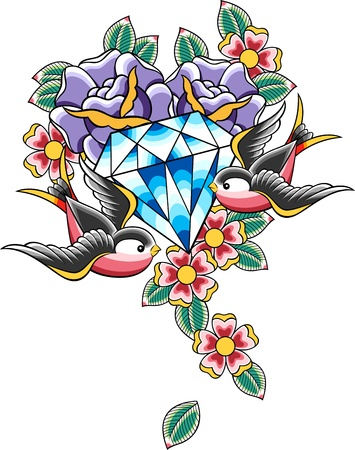 rose tattoo: bird and diamond tattoo Illustration