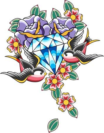 swallow: vogel en diamond tattoo Stock Illustratie