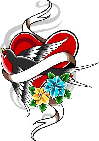tatuaje de aves: tatuaje vintage cl�sico